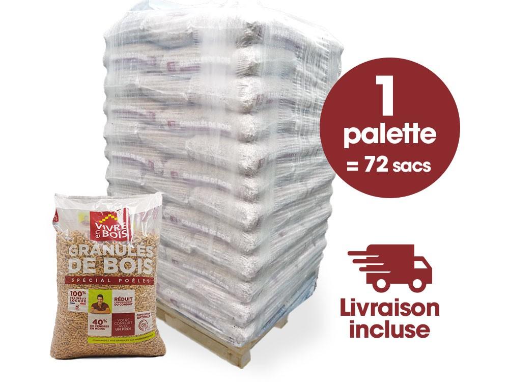 1 palette de Pellets 72 sacs VIVRE EN BOIS Livraison Incluse
