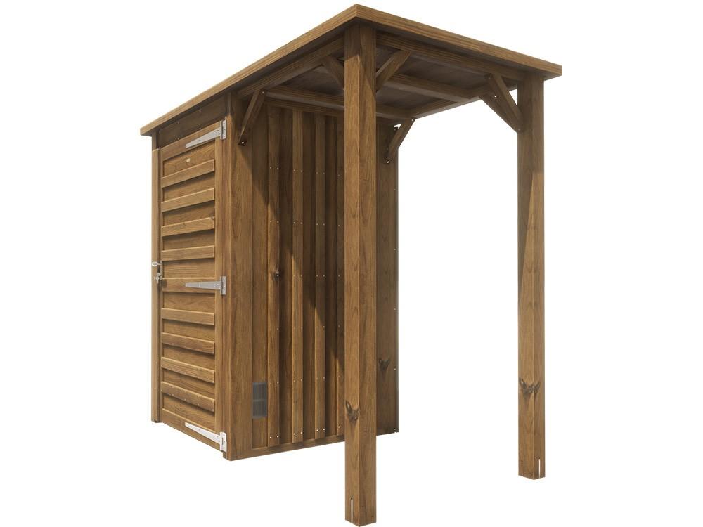 Petit abri bois avec auvent Uby 2,3 m² Pin classe 4 technologie DURAPIN marque PIVTEAUBOIS Vivre en Bois