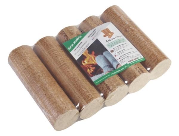 pack de 5 Bûches bois densifiées de jour PiveteauBois pour poêle, cheminée, chaudière à bois, vendu par Vivre en Bois
