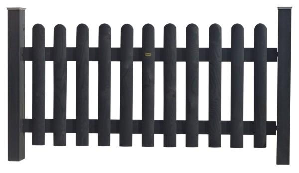 Clôture bois Bristol saturée gris anthracite avec poteaux de clôtures en Pin classe d'emploi 4 marque PIVETEAUBOIS