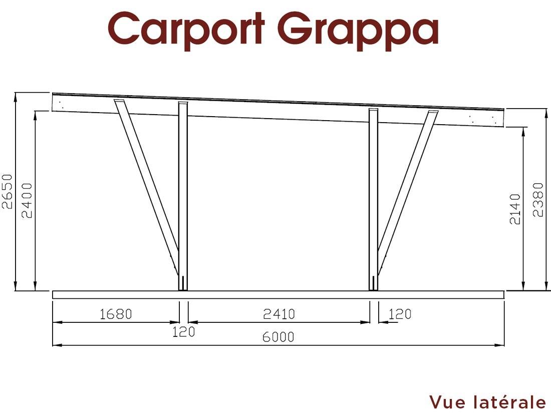 Dessin technique dimensions grand côté carport bois Grappa Pin technologie DURAPIN marque Piveteaubois Vivre en Bois