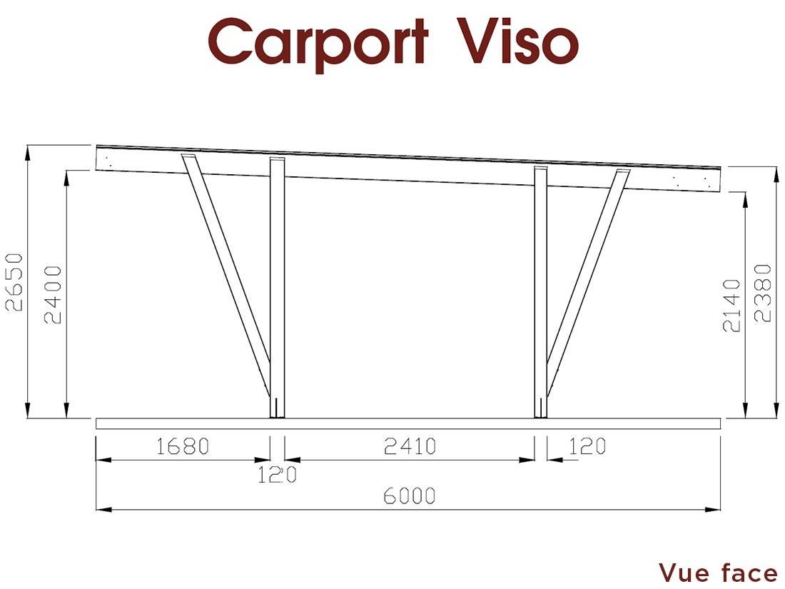 Dessin technique dimensions grand côté carport en bois 34 m² Viso en Pin technologie DURAPIN marque Piveteaubois Vivre en Bois