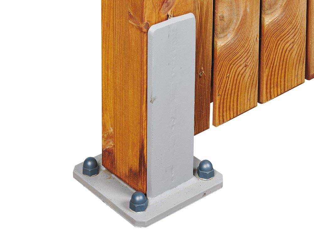 Quincaillerie - Platine galvanisée en H pour fixation de poteaux en bois de clôture Vivre en Bois