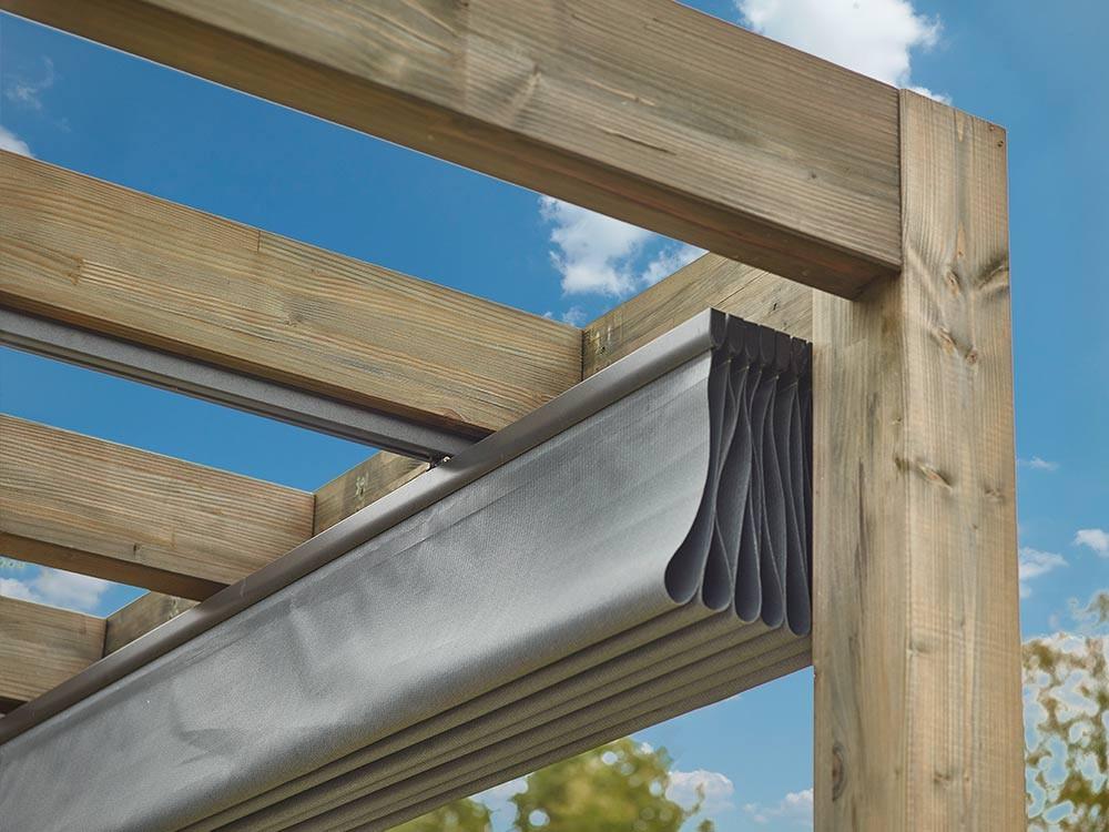 Store Velum horizontal manuel plié pour pergola bois 4x4 m Samana Vivre en Bois