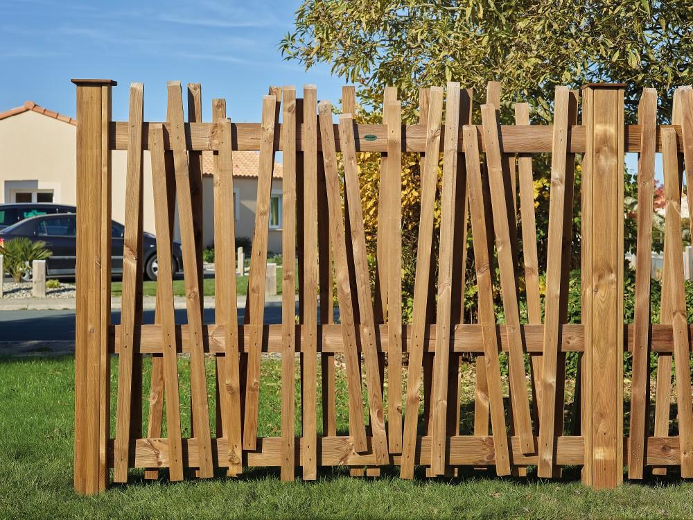 Clôture de jardin bois Papyrus destructurée en Pin DURAPIN marque PIVETEAUBOIS