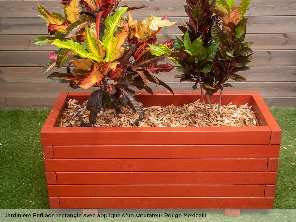 Jardinière grand format Enfilade saturateur rouge mexicain en Pin classe d'emploi 4 technologie DURAPIN marque PIVETEAUBOIS