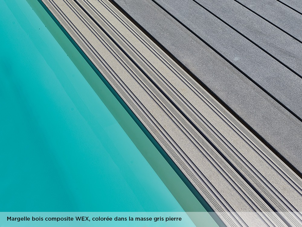 Margelle bois composite WEX, colorée dans la masse gris pierre pour la piscine Maéva octogonale 400 de Piveteaubois Vivre En Bois