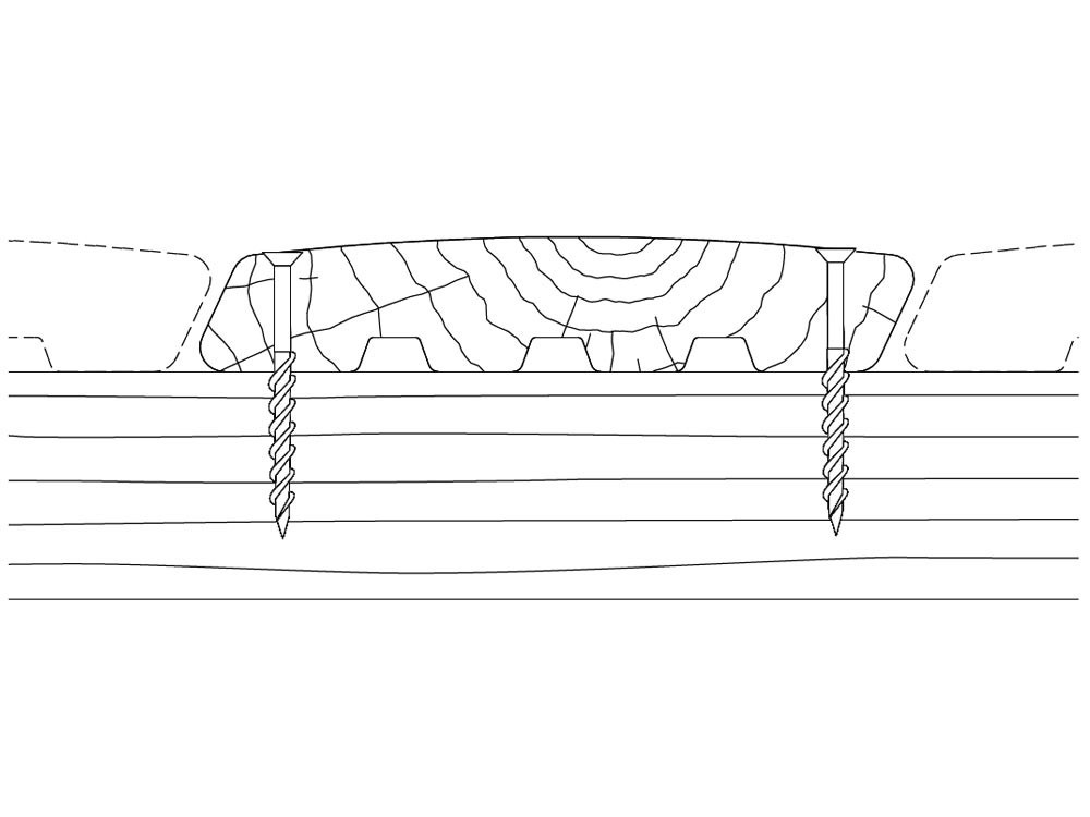 Dessin technique fixations vis pour lames de terrasse bois Santorin en Pin classe 4 technologie DURAPIN marque PIVETEAUBOIS Vivre en Bois