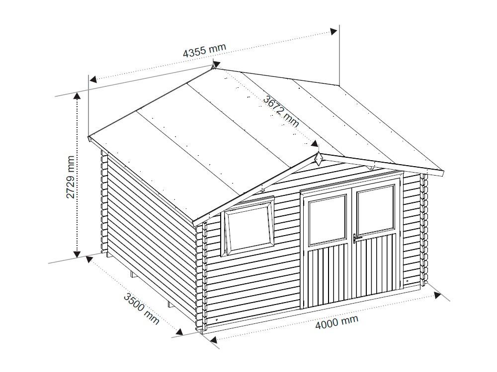 Dessin technique dimensions chalet de jardin en bois Bessay Vivre En Bois