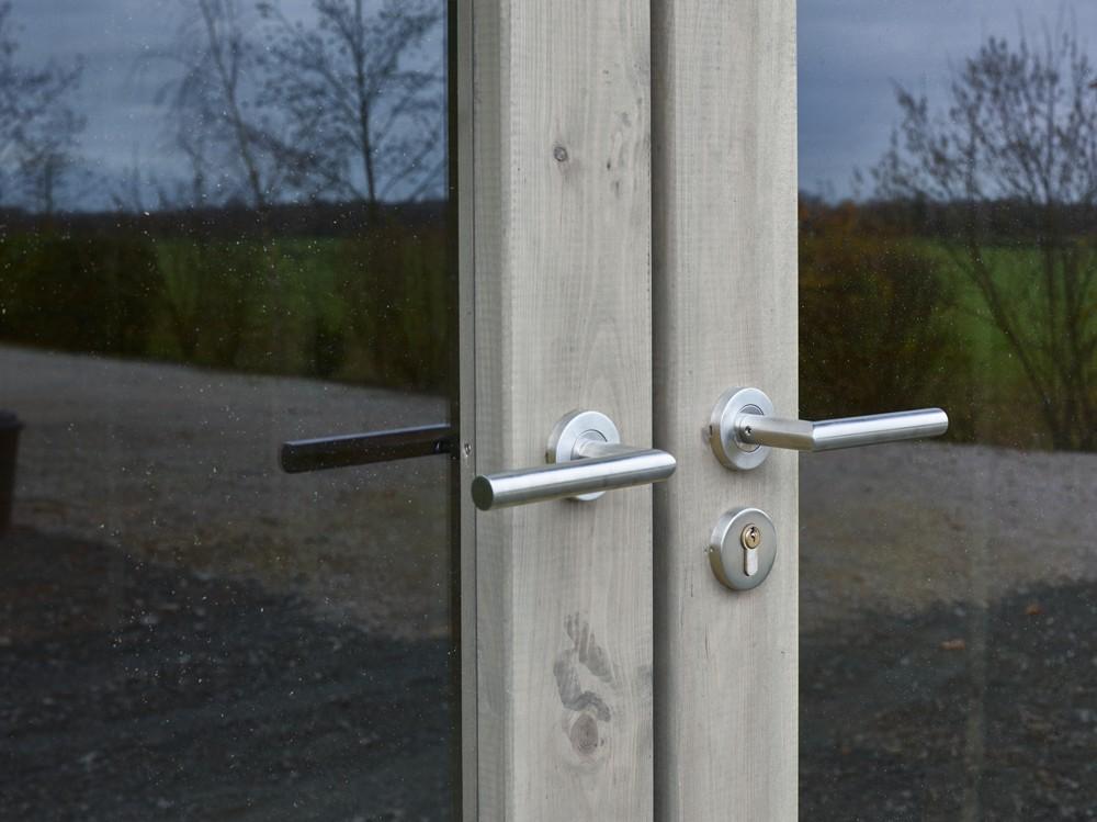 Poignées double porte abri Lautrec en Pin Vivre En Bois