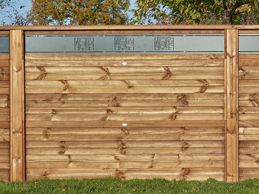 Panneau bois Olympe avec lame de décor en aluminium Pin classe 4 technologie DURAPIN marque PIVETEAUBOIS marron par imprégnation Vivre en Bois