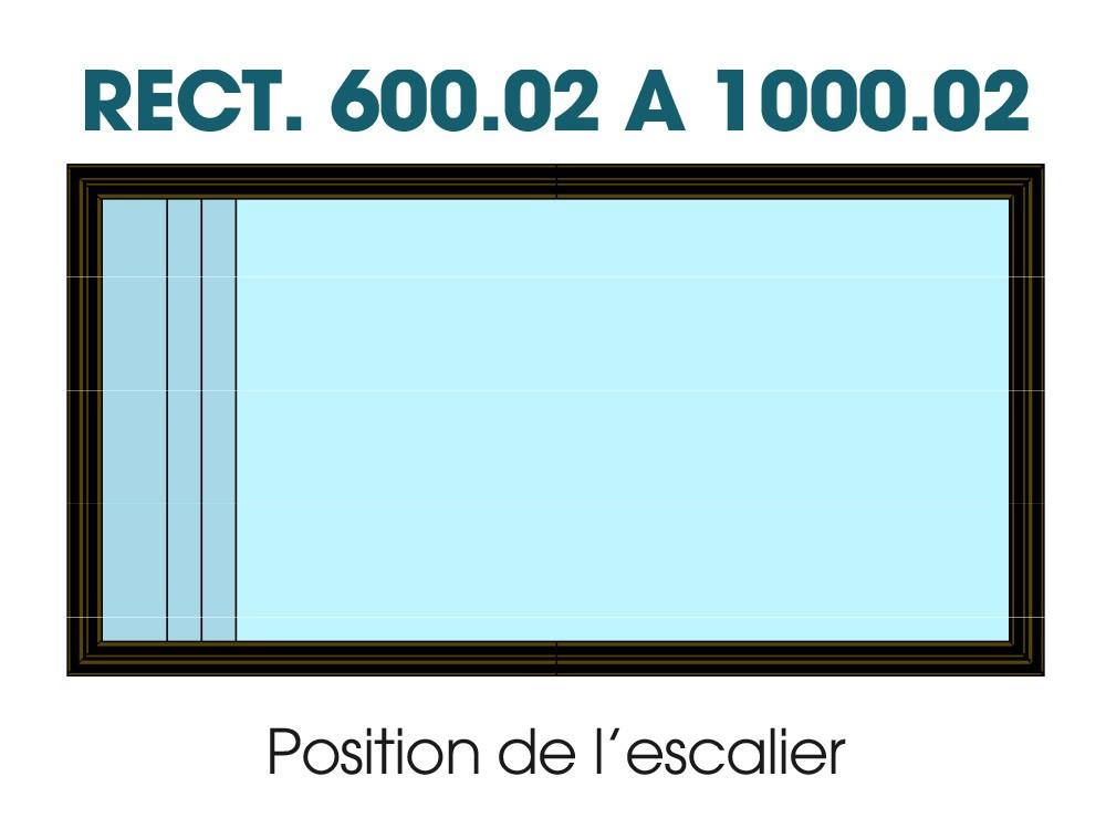 Dessin technique position escalier bois sous liner piscine Maéva 1000 Vivre en Bois