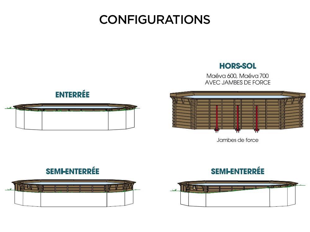 Margelle bois en Pin classe 4, finition saturée ambré pour la piscine Maéva octogonale 700 de Piveteaubois Vivre En Bois