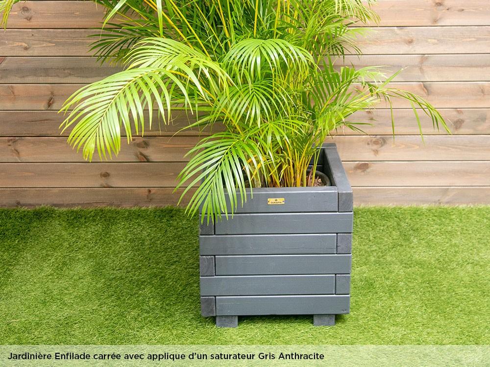 Jardinière carrée en bois Enfilade saturateur gris anthracite en Pin classe 4 technologie DURAPIN marque PIVETEAUBOIS