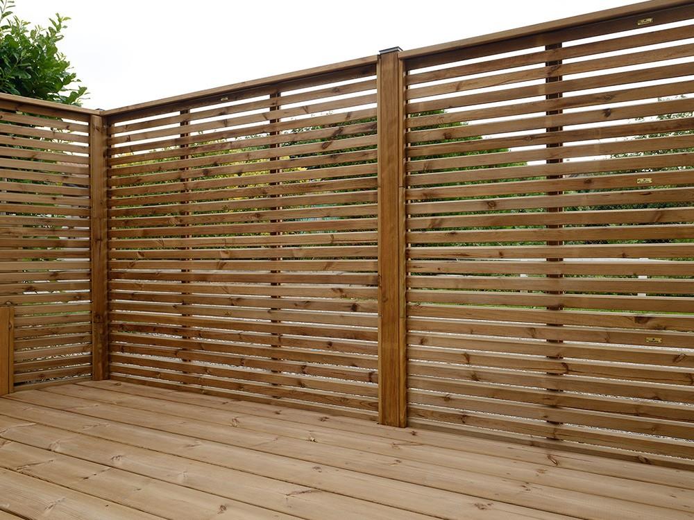 Dessin techniques types de pose clôture bois à empiler Olympe en Pin classe d'emploi 4 technologie DURAPIN marque PIVETEAUBOIS Vivre en Bois