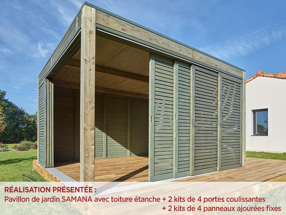 Pergolas autoportante Samana toiture étanche porte coulissante Vivre En Bois