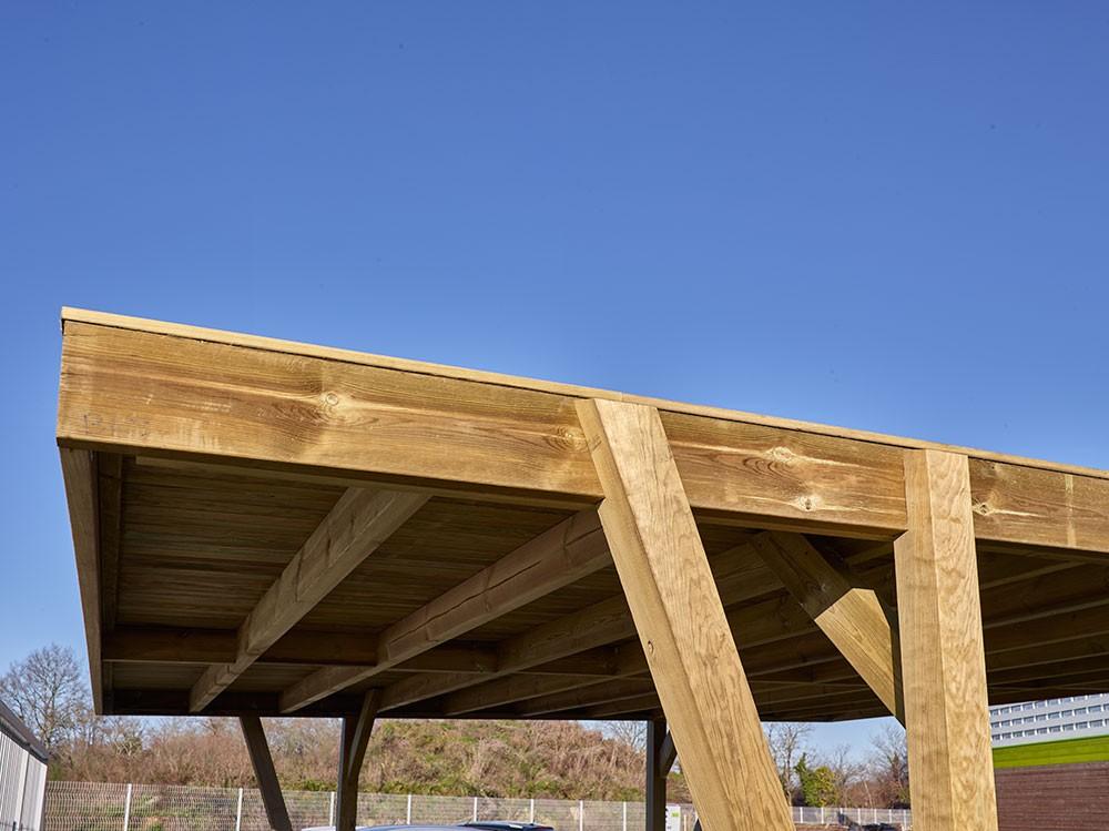 Toiture plate carport double en bois Viso 34 m² en Pin DURAPIN marque Piveteaubois Vivre en Bois