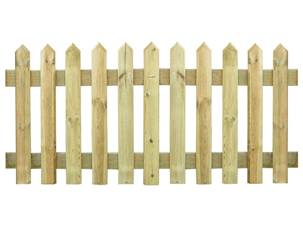 Clôture bois détroit lames plates en pointe