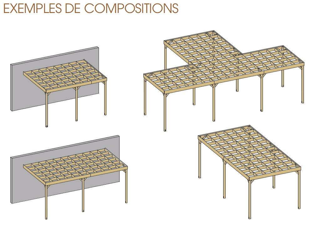 composition pergola bois