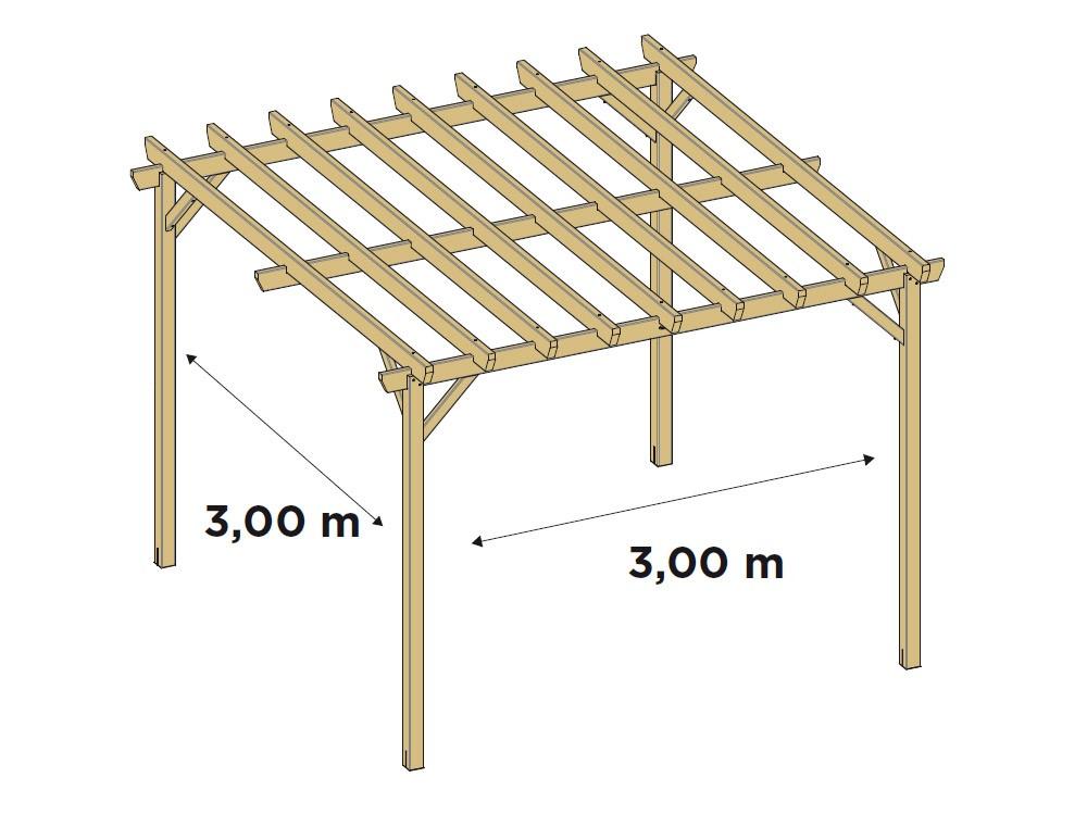 Dessin technique dimensions pergola indépendante Juzina en pin DURAPIN Vivre En Bois