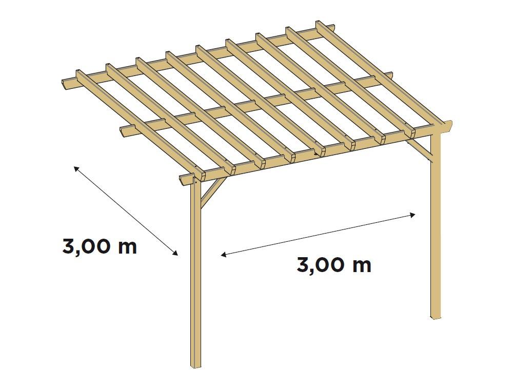 Dessin technique dimensions pergola en pin DURAPIN Vivre En Bois