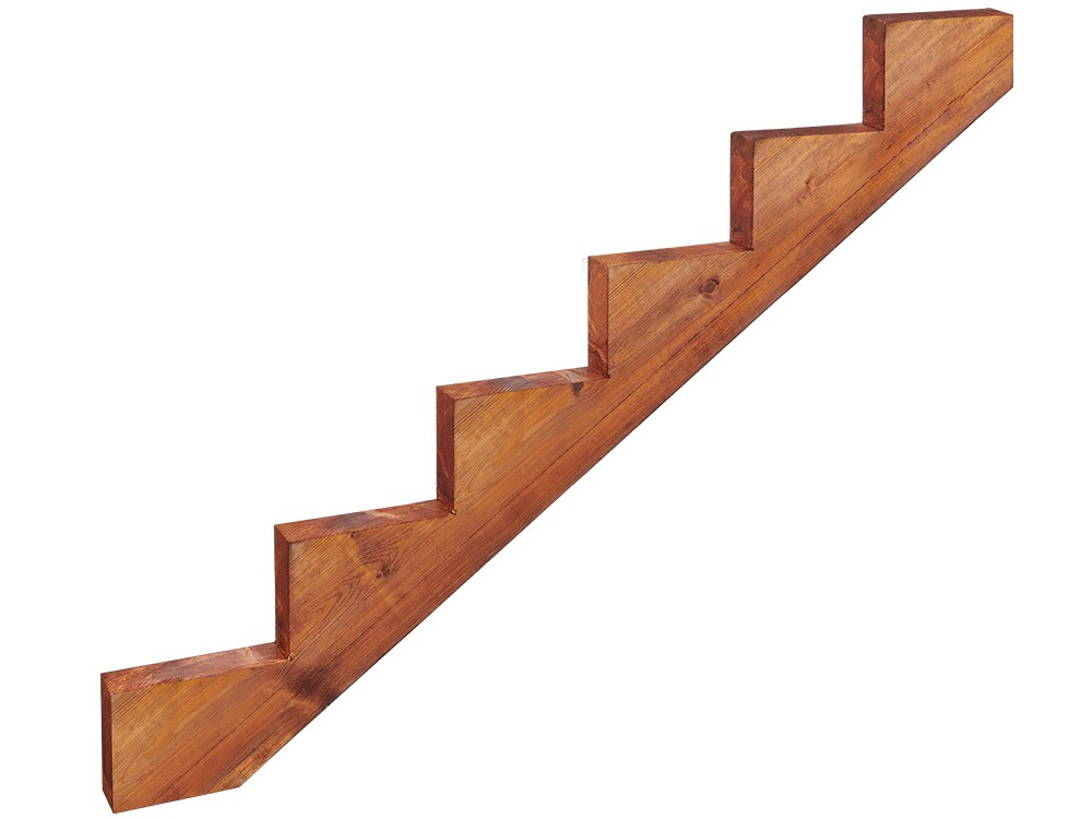 Limon d'escalier classe 4 en bois 6 marches Pin marron imprégné autoclave technologie DURAPIN marque Piveteaubois Vivre en Bois