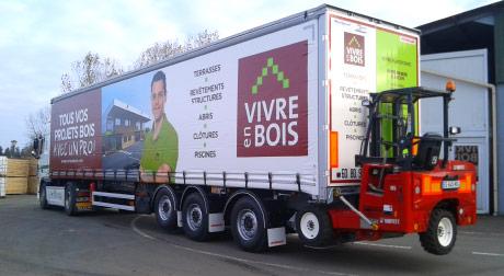Camion 38 Tonnes Vivre en Bois avec chariot élévateur